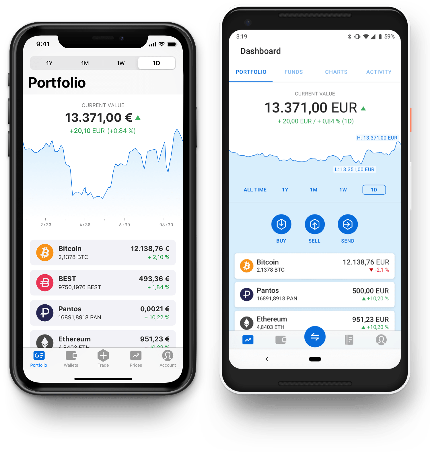 The Bitpanda iOS and Android apps.